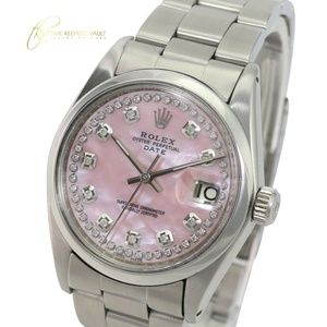 Rolex Oyster Perpetual Date Pink MOP Diamond Dial